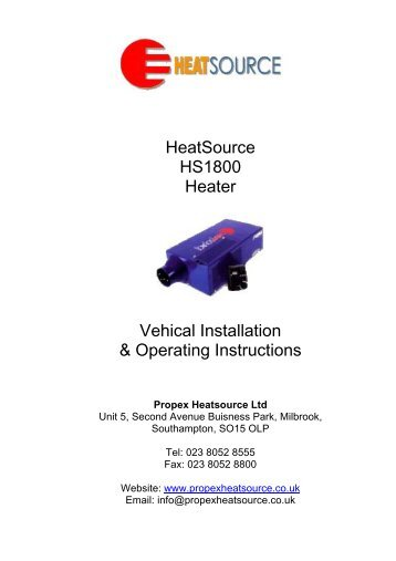 HeatSource HS1800 Heater Vehical Installation ... - Club 80-90