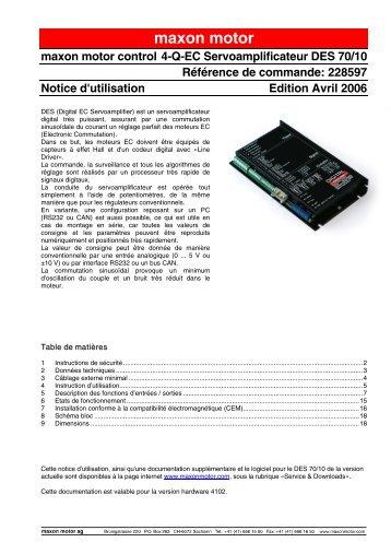 Notice d'utilisation - Maxon Motor