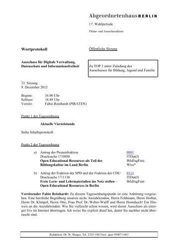 Open Educational Resources - Abgeordnetenhaus von Berlin