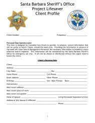 Santa Barbara Sheriff's Office Project Lifesaver Client Profile