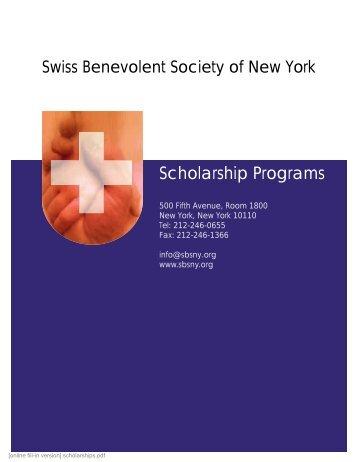 Scholarship Programs - Swiss Benevolent Society