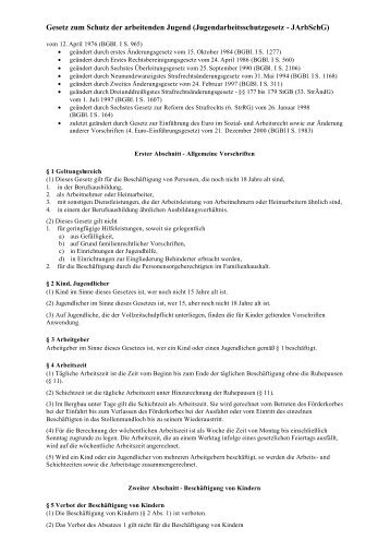 Gesetz zum Schutz der arbeitenden Jugend - SBSZ - Jena Göschwitz