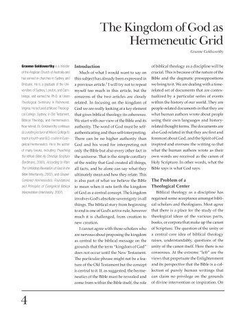 4 The Kingdom of God as Hermeneutic Grid - The Southern Baptist ...