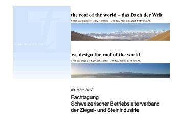 the roof of the world – das Dach der Welt we design the ... - sbzs.ch