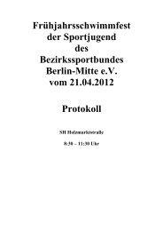 Frühjahrsschwimmfest der Sportjugend des Bezirkssportbundes ...