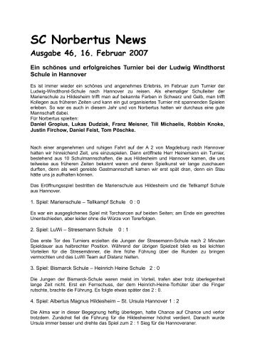 Ausgabe 46 vom 16.02.2007 Ein schönes und ... - SC Norbertus