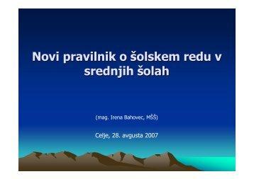 Novi pravilnik o Å¡olskem redu v srednjih Å¡olah