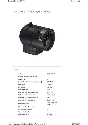 """13VG308AS (1/3"""" 3-8mm F/1,0 DC Auto Iris) Daten Seite 1 von 2 ..."""