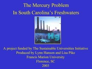 Mercury in South Carolina Freshwater - University of South Carolina