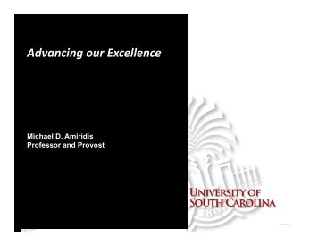 Advancing our Excellence - University of South Carolina