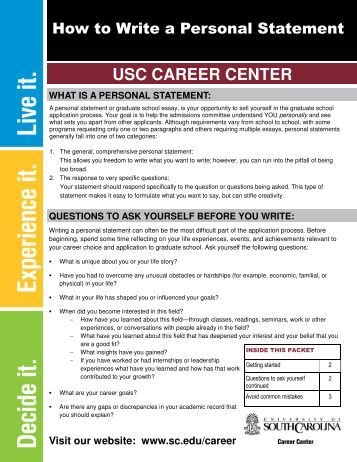 usc personal statement law The personal insight questions are about getting to know you better — your life experience, interests, ambitions and inspirations.