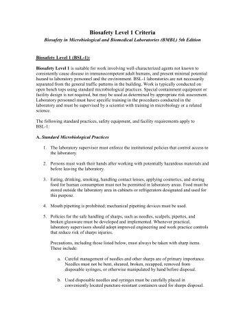 Biosafety Level 1 Criteria