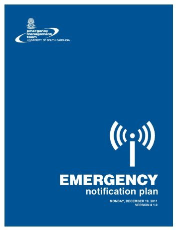 Emergency Notification Plan - University of South Carolina