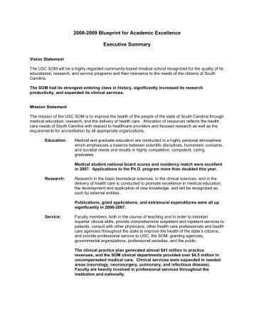 2008 Blueprint for Excellence Executive Summary - University of ...