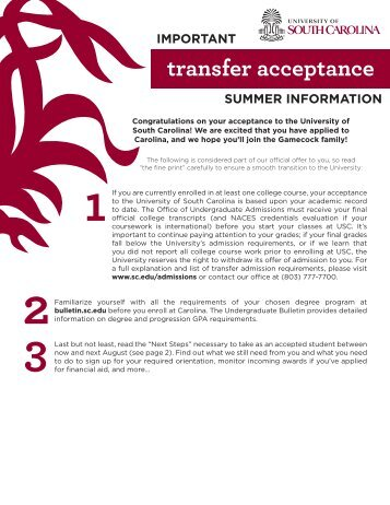 Transfer Next Steps for Summer 2013 - University of South Carolina