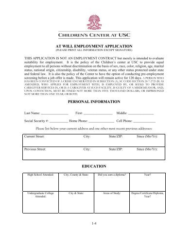 AT WILL EMPLOYMENT APPLICATION PERSONAL INFORMATION ...