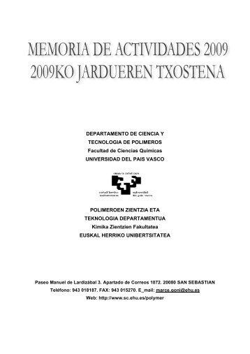 DEPARTAMENTO DE CIENCIA Y TECNOLOGIA DE POLIMEROS ...