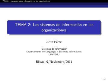 TEMA 2: Los sistemas de información en las organizaciones