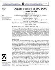 Quality service of ISO 9000 consultants - Universitat de Girona