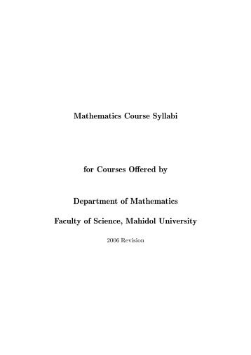ไฟล์ course syllabi - คณะวิทยาศาสตร์ มหาวิทยาลัยมหิดล - Mahidol ...
