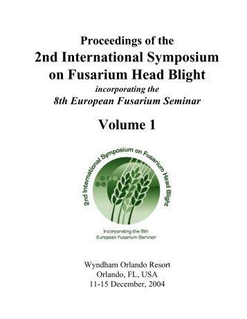 2nd International Symposium on Fusarium Head Blight Volume 1