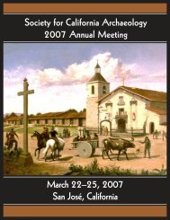 2007 Annual Meeting Program - Society for California Archaeology