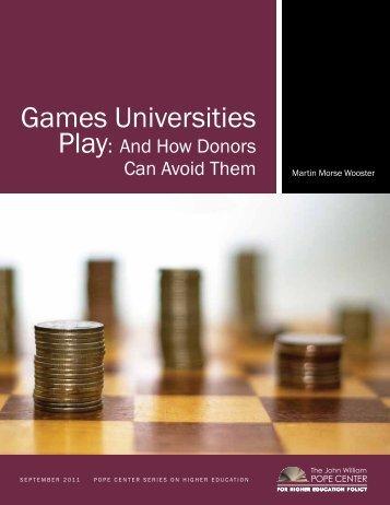 GAMES UNIvERSITIES PlAy - John Locke Foundation
