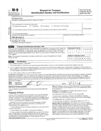 W9 form - Request for Taxpayer Identification Number and Certification