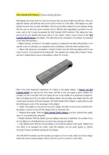 Dell Latitude E6410 Battery Features and Specifications.pdf
