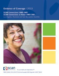 Evidence of Coverage   2013 - SCAN Health Plan