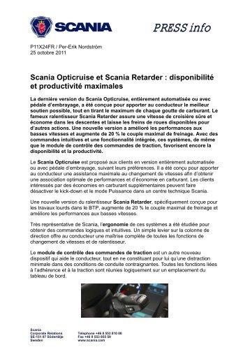 Scania Opticruise et Scania Retarder : disponibilité et productivité ...