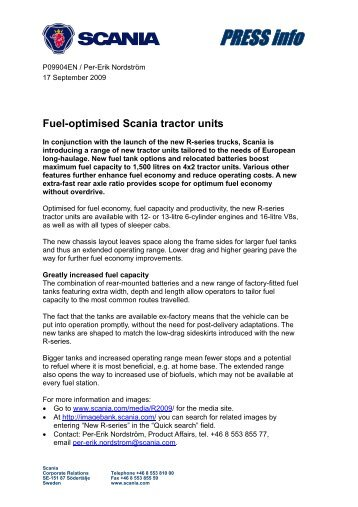 Fuel-optimised Scania tractor units - scania.co.bw