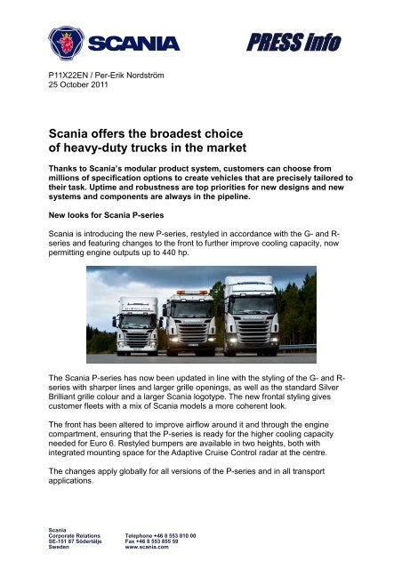 Scania offers the broadest choice of heavy-duty trucks in