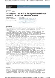 A- Creditwatch negative - Scania