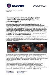 Scanias nya motorer nu tillgängliga globalt –för industri- och ...