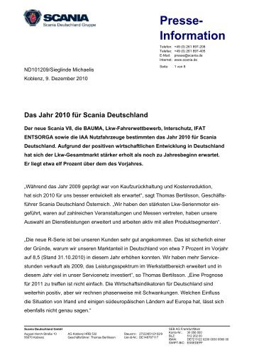 Das Jahr 2010 für Scania Deutschland