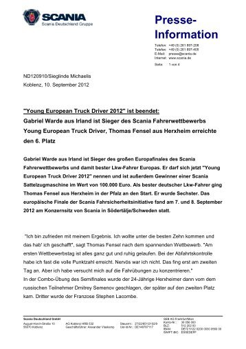 """""""Young European Truck Driver 2012"""" ist beendet - Scania"""