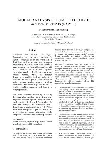 MODAL ANALYSIS OF LUMPED FLEXIBLE ACTIVE SYSTEMS ...