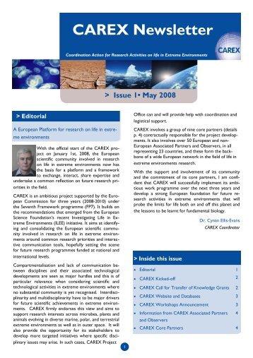 Download CAREX Newsletter #1 - carex-eu.org