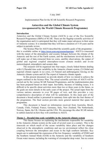 Antarctica and the Global Climate System - Scientific Committee on ...