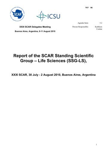Report of XXXI SCAR SSG Life Sciences Meeting, Buenos Aires, 30 ...