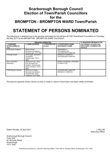 ELECTION OF A BOROUGH COUNCILLOR STATEMENT AS TO PERSONS ...