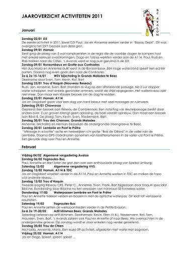 Activiteitenverslag 2011 (PDF) - Speleoclub Avalon