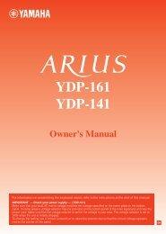 YDP-161/141 Owner's Manual - Yamaha Downloads