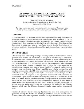 Automatic History Matching Using Differential Evolution ... - SCAWeb
