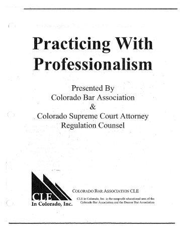 Practicing With Professionalism - South Carolina Bar Association