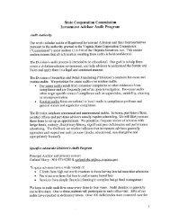 Investment Advisor Audit Program - Virginia State Corporation ...
