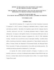 report to the legislative transition task force of - Virginia State ...
