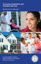 Consumer Assistance and Outreach Services - Virginia State ...