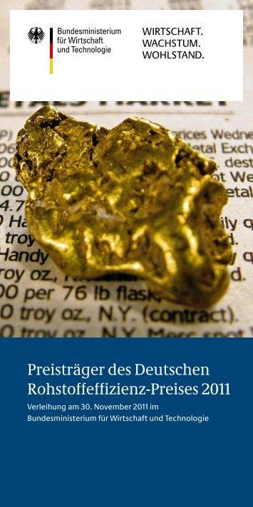 Preisträger des Deutschen Rohstoffeffizienz-Preises 2011 (PDF, 2